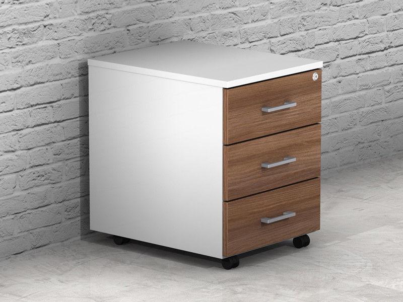 Ufficio Legno Bianco : Cassettiera ufficio legno 3 cassetti con ruote e serratura az sconti