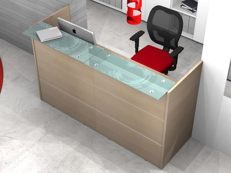 Banconi Per Ufficio Kit : Reception bancone ufficio lineare con mensole vetro az sconti